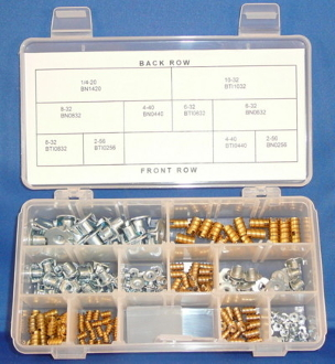 Blind Nuts & Threaded Inserts Assortment: 2-56, 4-40, 6-32, 8-32